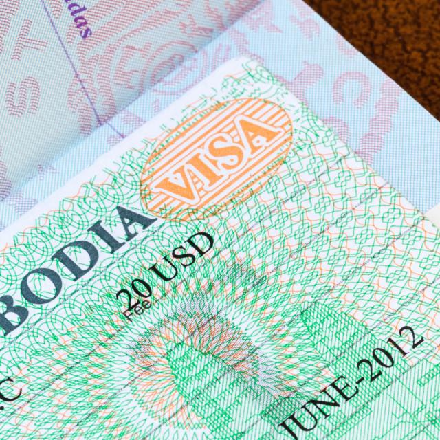 """Visa for Cambodia in US passport"" stock image"