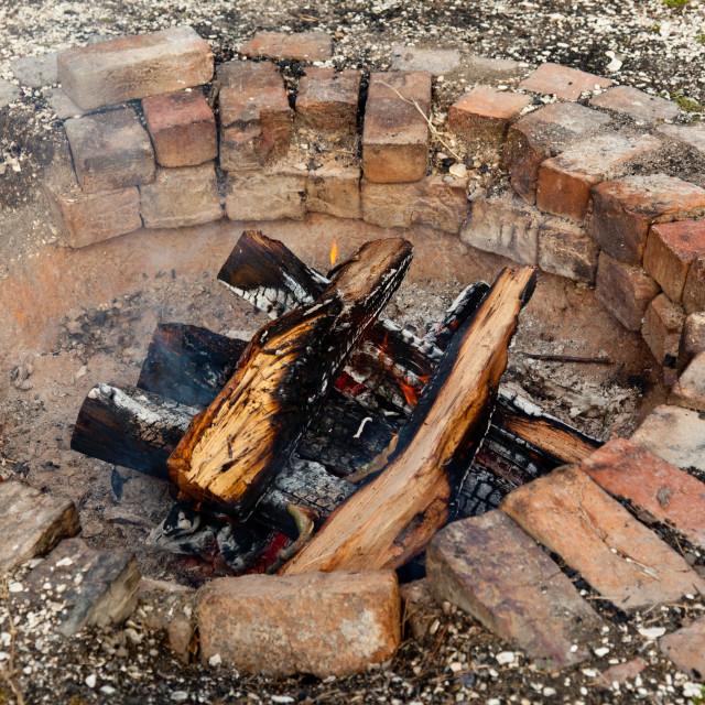 """Old brick firepit"" stock image"