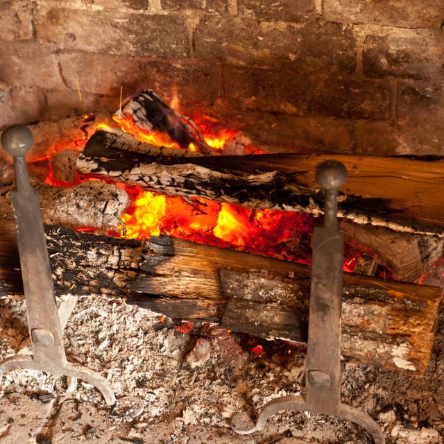 """Old brick fireplace"" stock image"
