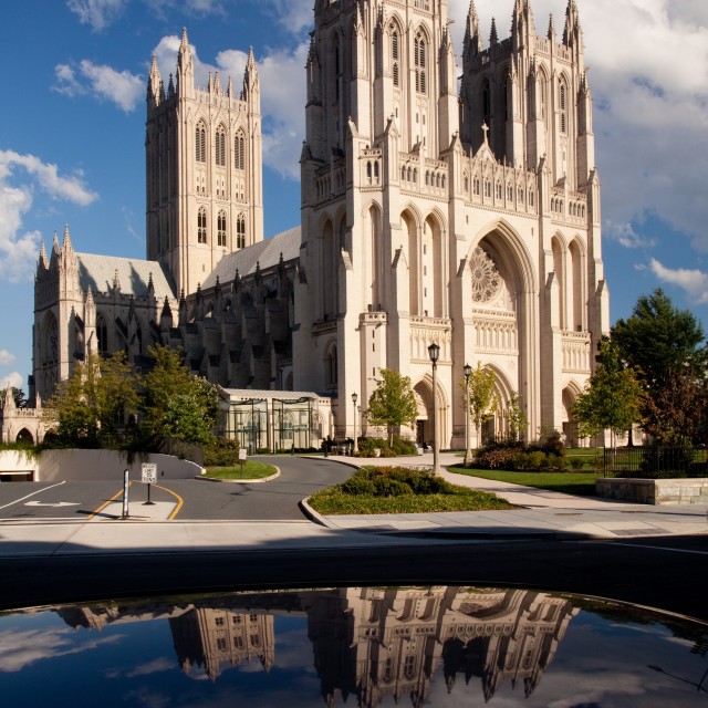 """Reflection of Washington Cathedral"" stock image"