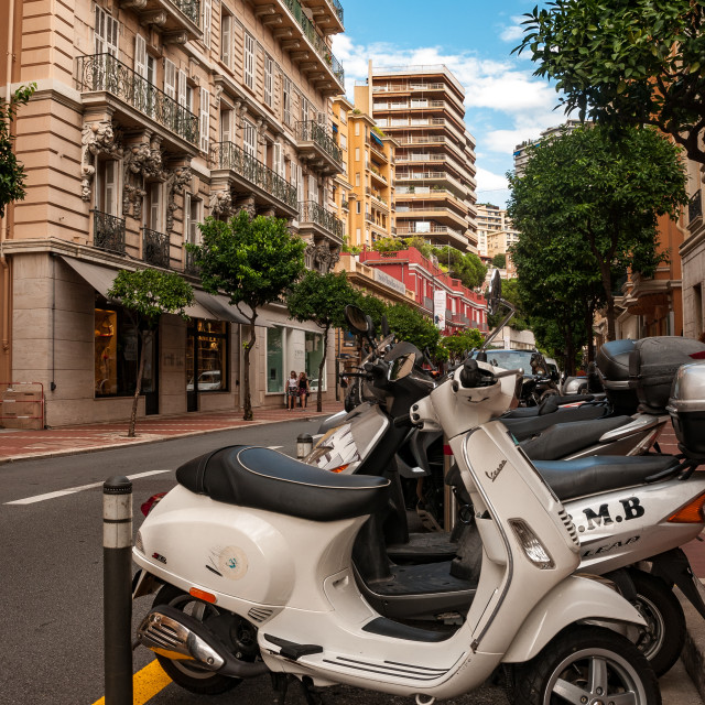 """Moped on the street, Monaco"" stock image"