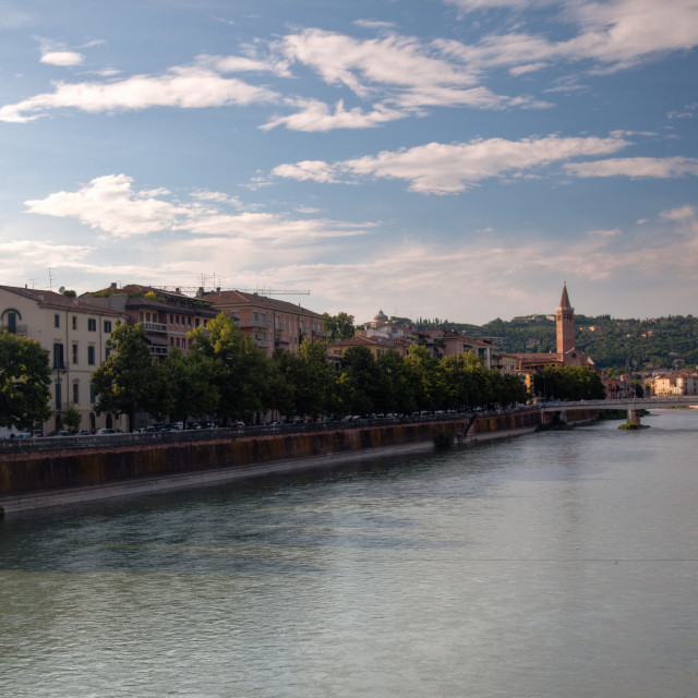 """""""River front in Verona"""" stock image"""