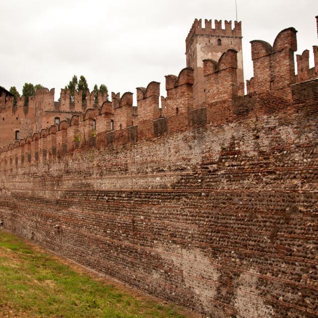 """""""Castel Vecchio battlements"""" stock image"""