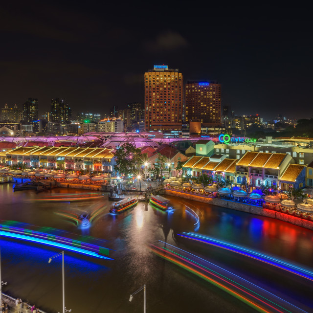 """Light Trails at Clark Quay"" stock image"