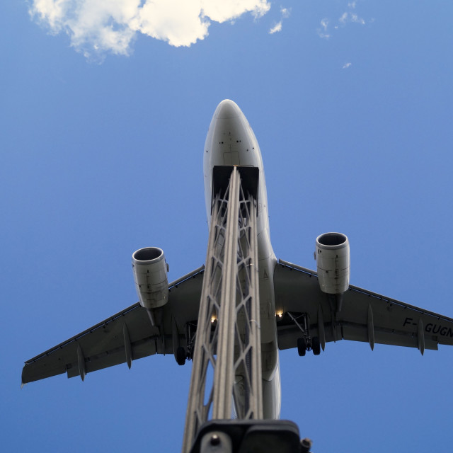 """""""Airplane on final"""" stock image"""