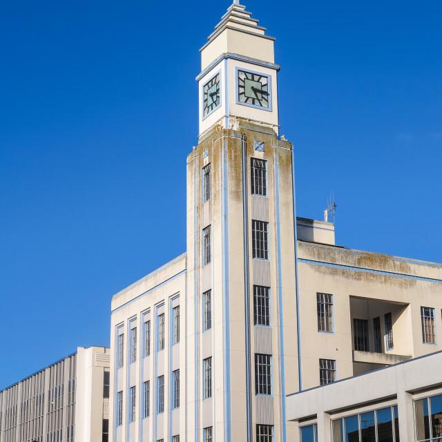 """Art Deco clock tower"" stock image"