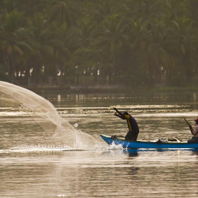 """Traditional fisherman in Palameenmadu beach, Sri Lanka"" stock image"