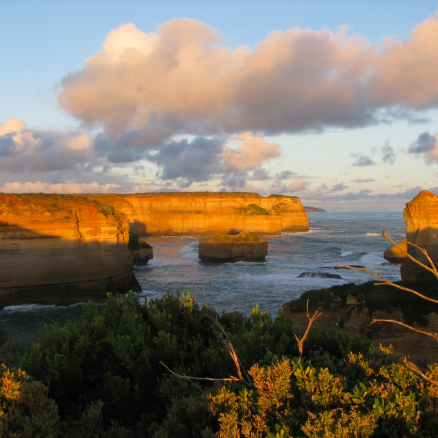 """Australia Great Ocean Road, cliffs at sunset"" stock image"