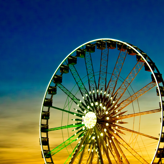 """""""Detail And Silhouette of Ferris Wheel with Sun Set"""" stock image"""