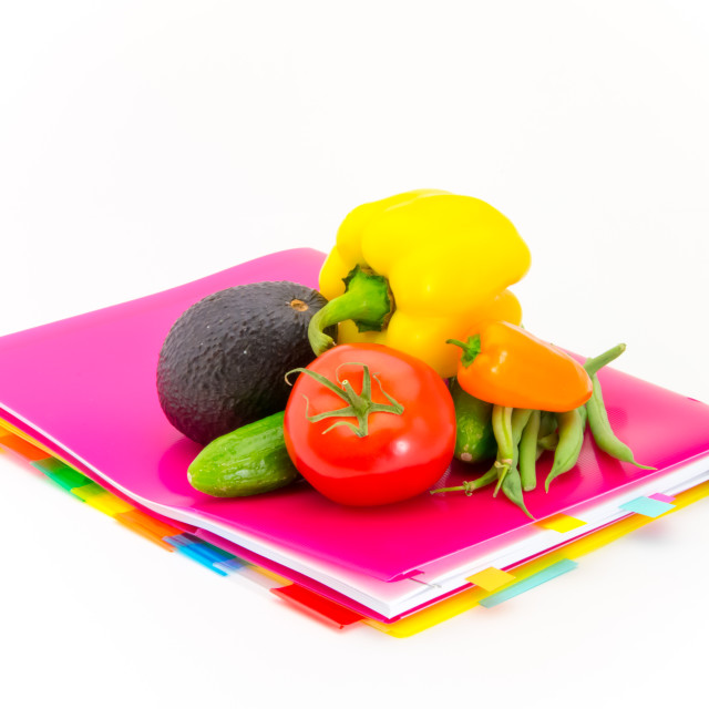 """Office Documents and Vegetables"" stock image"