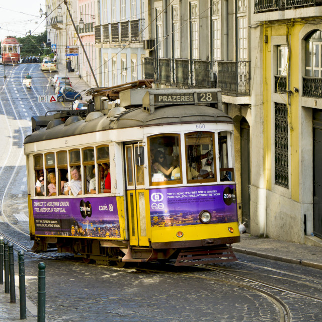 """Tram in the streets of Lisbon"" stock image"
