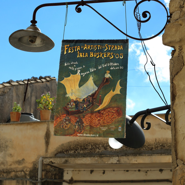 """Rustic sign on Iron Lamp, Sicily"" stock image"