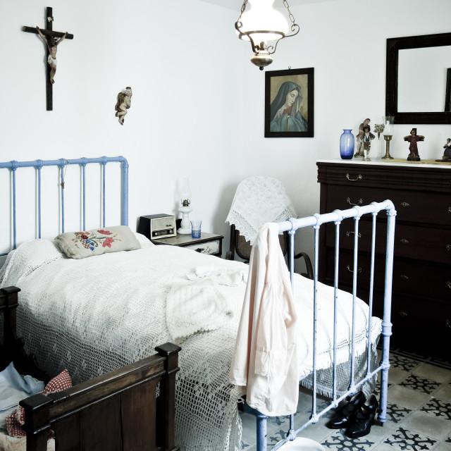 """Vintage spanish rural bedroom"" stock image"
