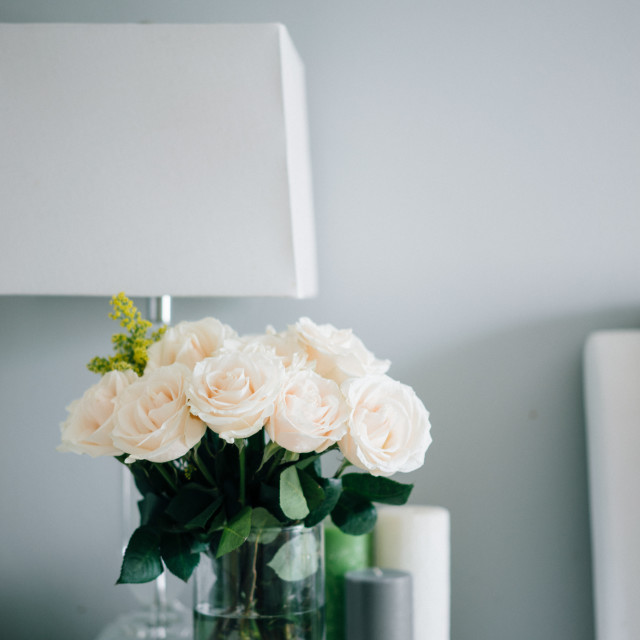 """Bouquet of white pastel roses in white interior"" stock image"