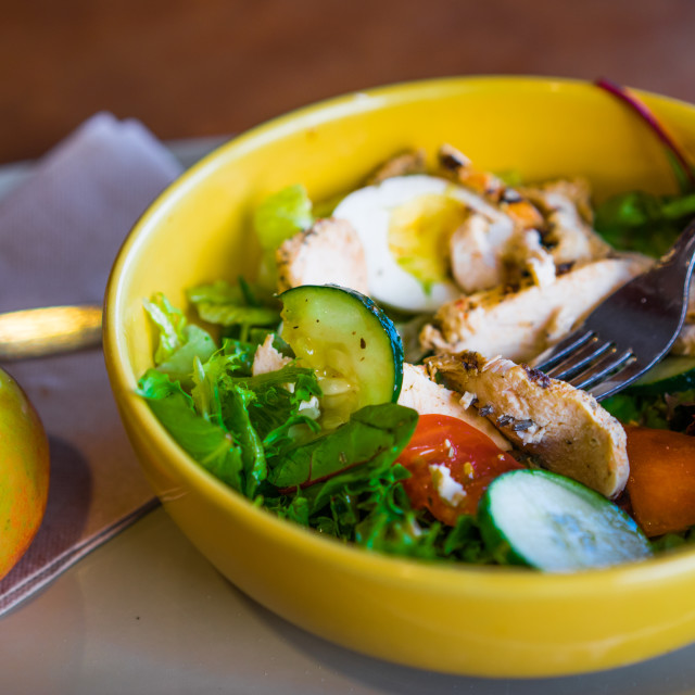 """Healthy salads with vegetables and grilled chicken"" stock image"