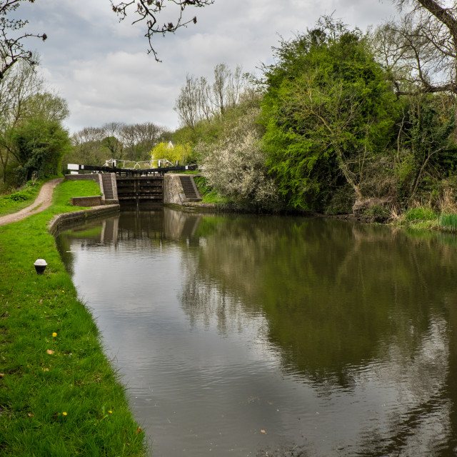 """""""Approaching a canal lock"""" stock image"""