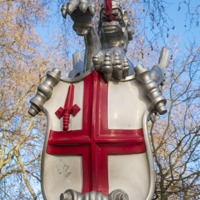 """Griffin Holding the City of London Coat of Arms"" stock image"