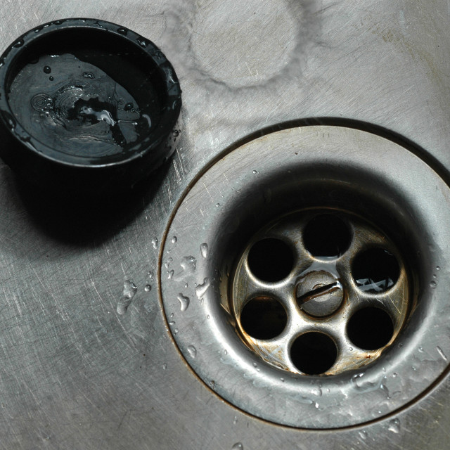 """Plug Hole in Kitchen Sink"" stock image"