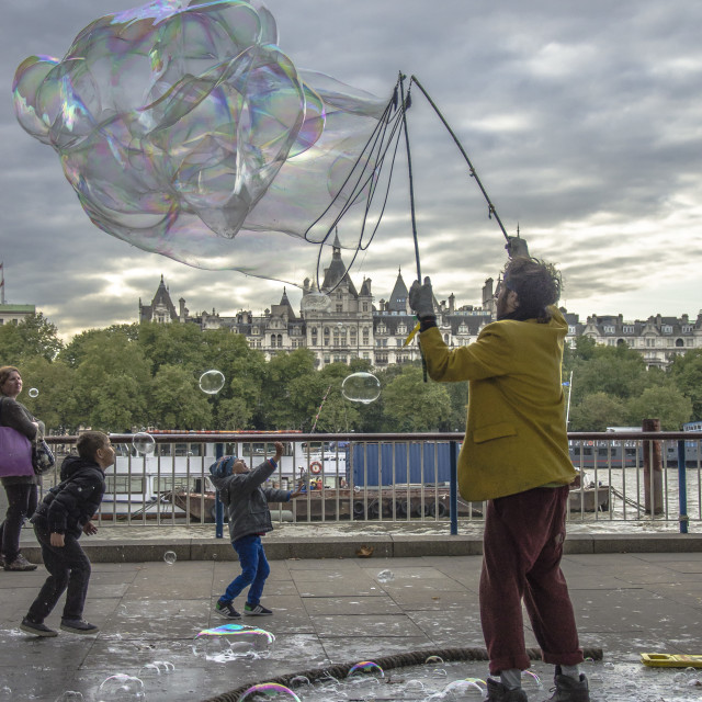 """""""man with bubbles"""" stock image"""
