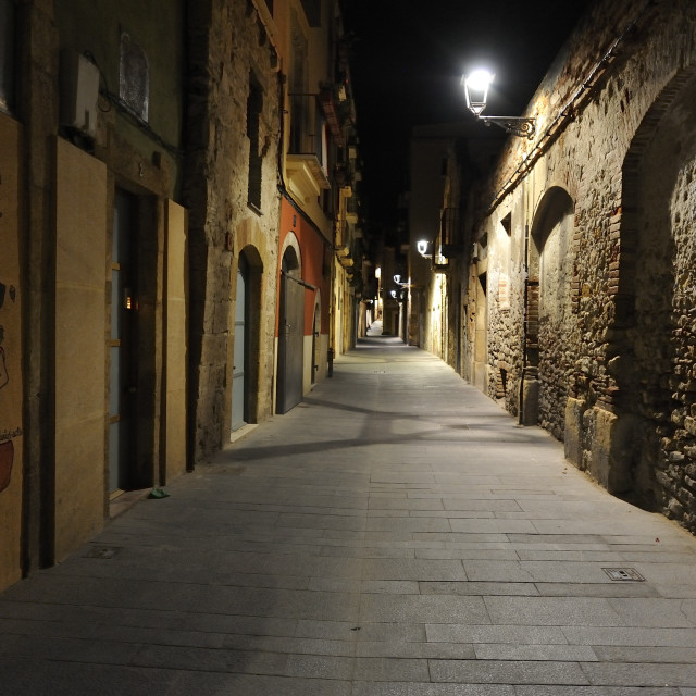 """A night alley in Tarragona"" stock image"