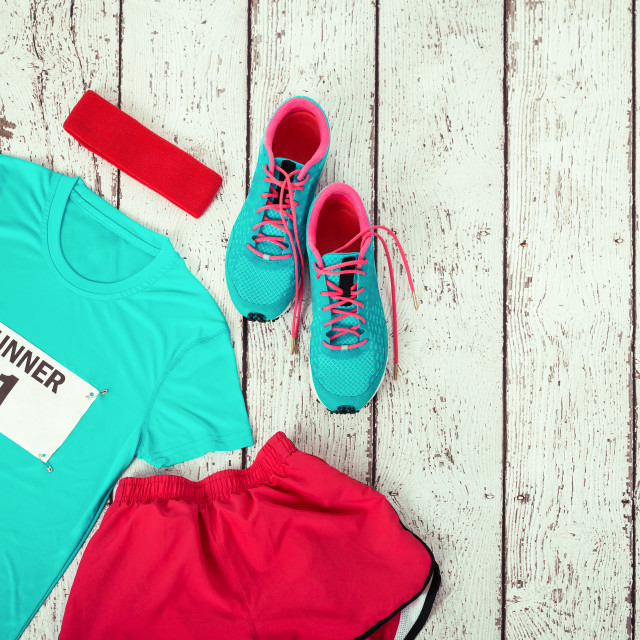 """Running gear laid out ready for race day"" stock image"
