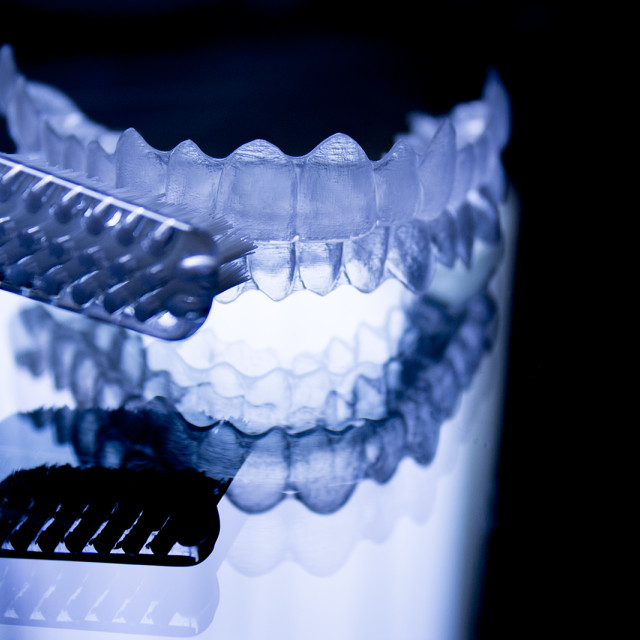 """Dental retainers and toothbrush"" stock image"