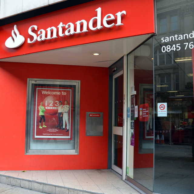 """Santander bank in Manchester"" stock image"