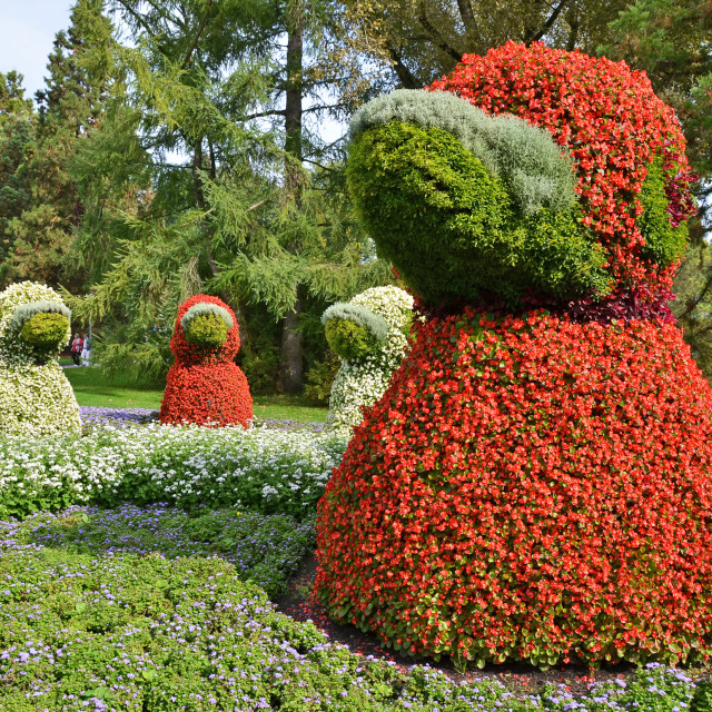 """Duck sculpture. Mainau island, Germany"" stock image"