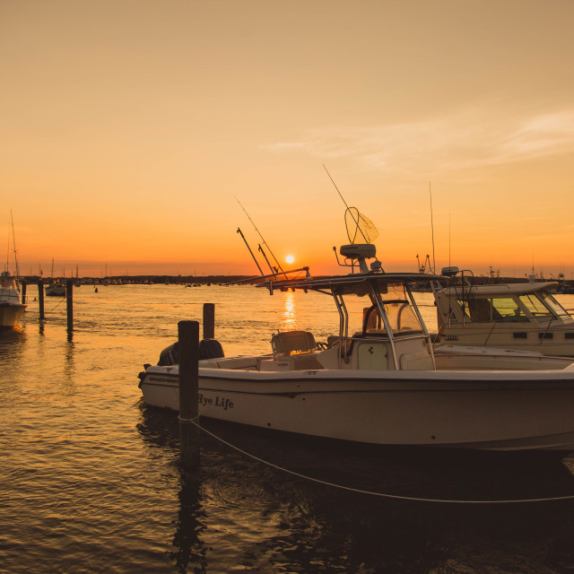 """Boats at Sunset"" stock image"