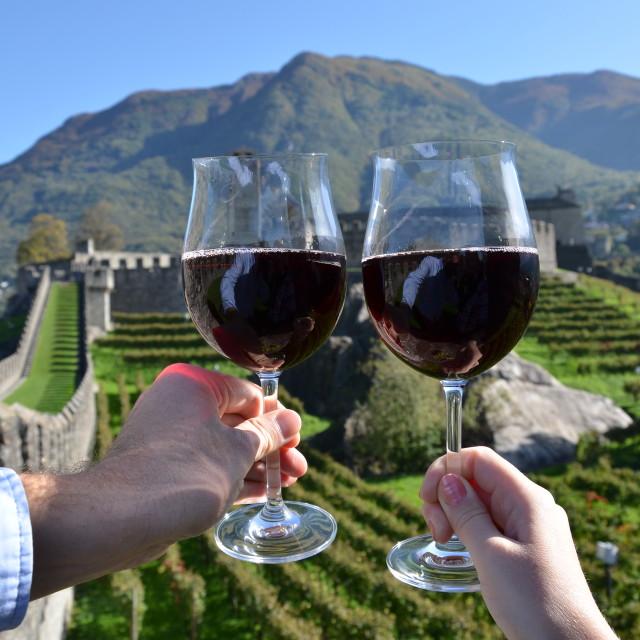 """Pair of wineglasses. Bellinzona, Switzerland"" stock image"
