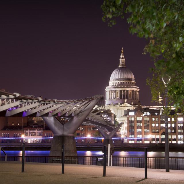 """Millennium Bridge to St Pauls, London"" stock image"