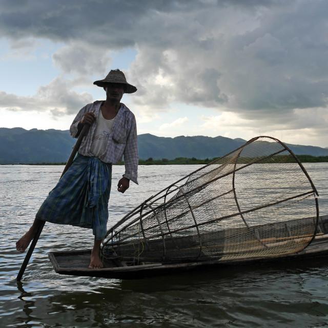 """""""Leg-rowing fisherman on Inle Lake, Myanmar"""" stock image"""