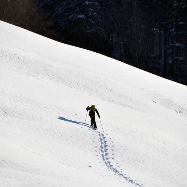 """Man in snowshoe climbing a slope"" stock image"