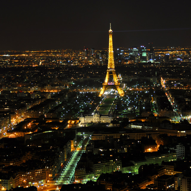 """""""PARIS - APRIL 4: Eiffel Tower at night April 4, 2010 in Paris, France. Eiffel tower is the most visited monument of France and the most recognizable landmark of the world"""" stock image"""