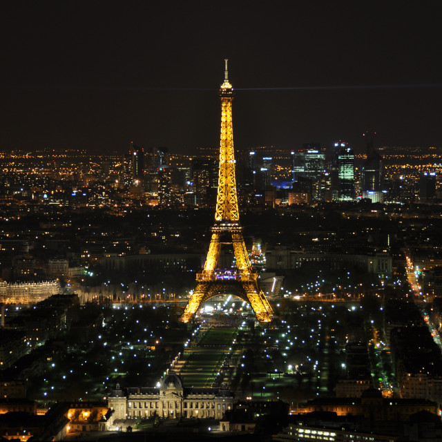 """""""PARIS - APRIL 4: Eiffel Tower at night April 4, 2010 in Paris, France. The Eiffel tower is the most visited monument of France and the most recognizable landmark of the world."""" stock image"""