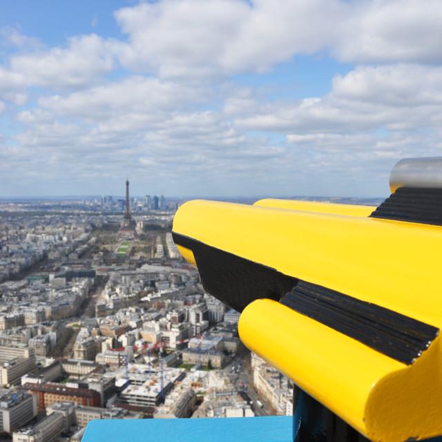 """Binoculars overlooking panorama of Paris"" stock image"