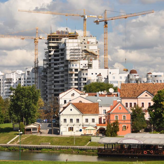 """Minsk downtown across Svisloch river"" stock image"