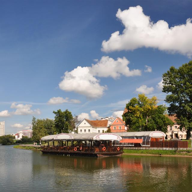 """""""Minsk downtown across Svislotch river"""" stock image"""