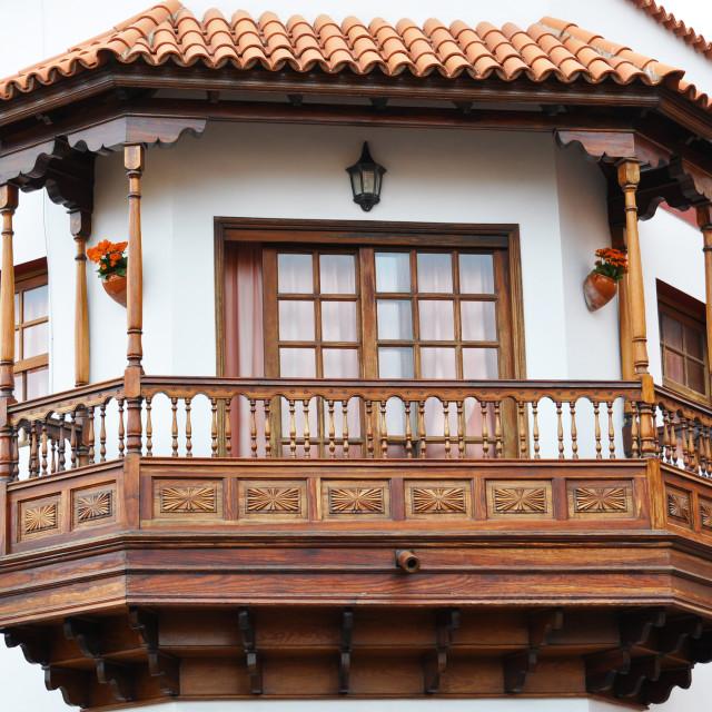 """Traditional Spanish balcony. Garachico, Tenerife, Canaries"" stock image"