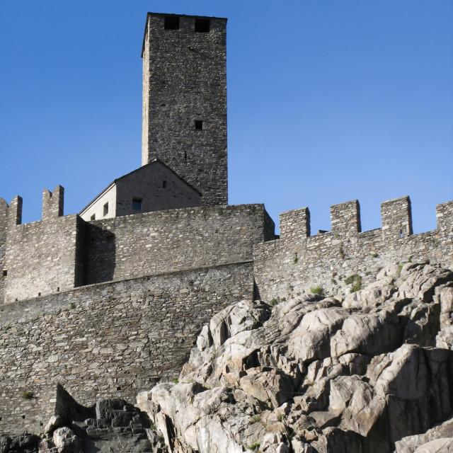 """""""Ancient fortifications in Bellinzona, Switzerland"""" stock image"""