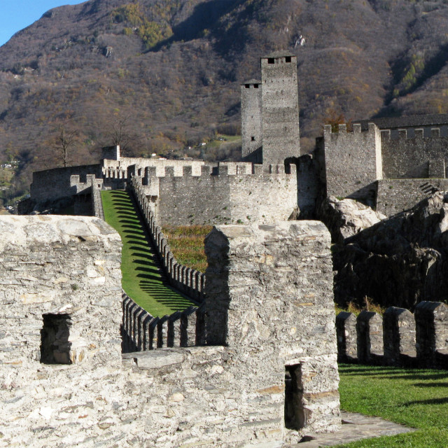 """Ancient fortifications in Bellinzona, Southern Switzerland"" stock image"