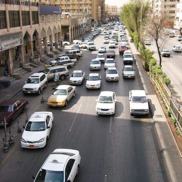 """Busy street of Er Riyadh, Saudi Arabia"" stock image"