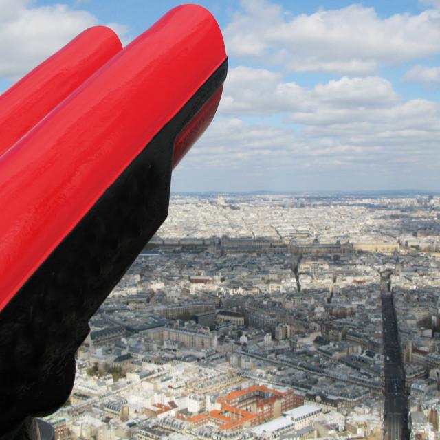 """""""Binoculars against aerial panorama of Paris"""" stock image"""