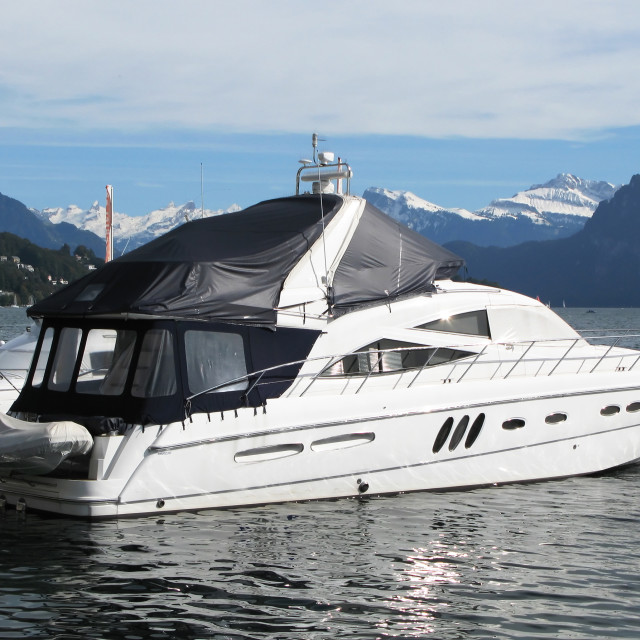 """""""Luxurious powerboat in the port of Lucerne, Switzerland"""" stock image"""
