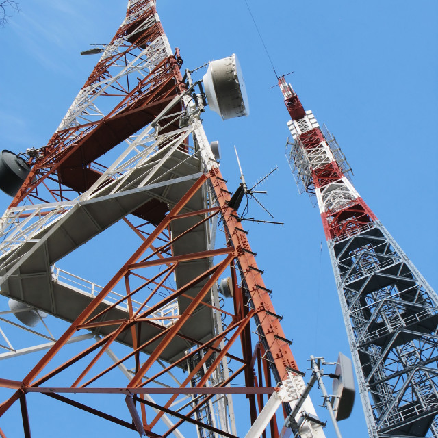 """""""Two communication towers"""" stock image"""