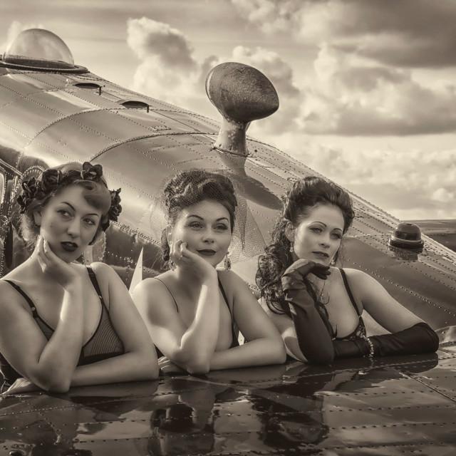 """Mono Vintage Glamour Girls."" stock image"
