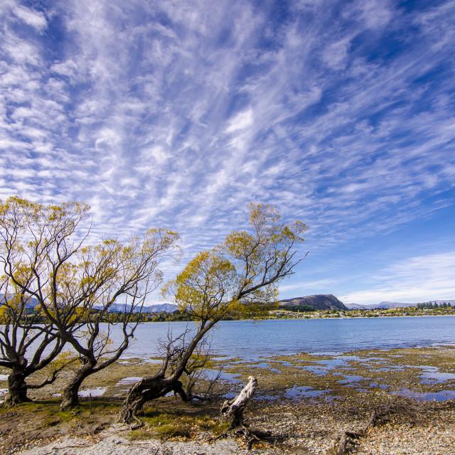 """Crazy Clouds, Lake Wanaka, New Zealand"" stock image"