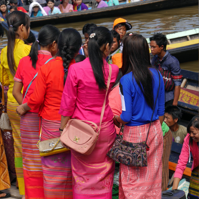 """Row of Burmese girls in colourful traditional clothes"" stock image"