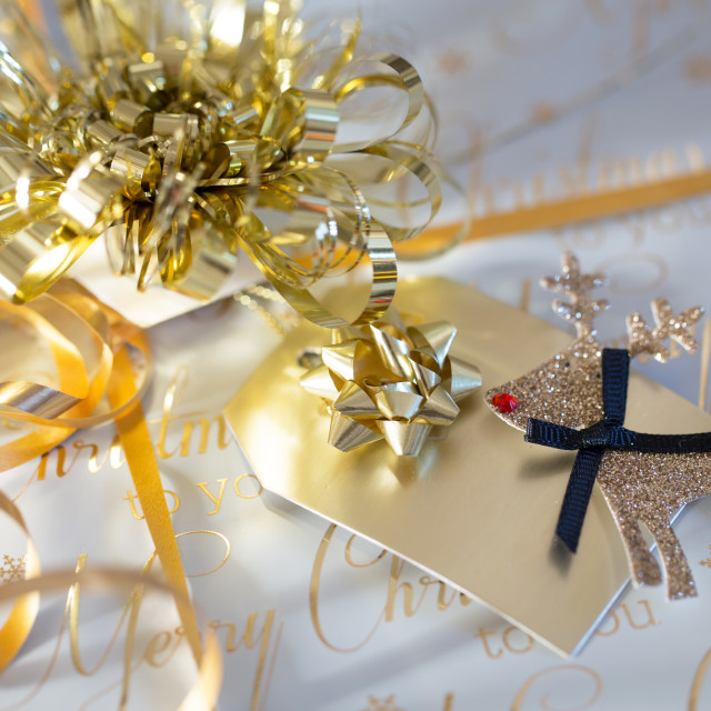 """""""Gift Tag on a box"""" stock image"""