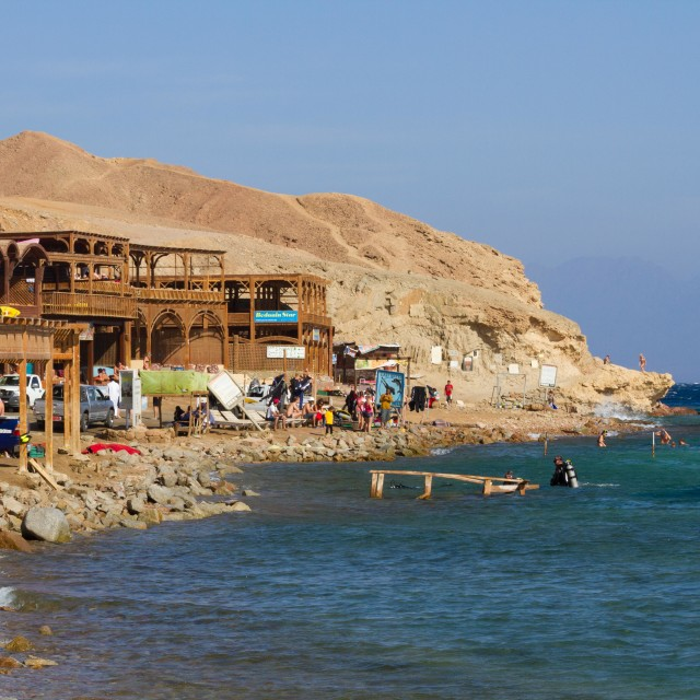 """The rocky beach at the Blue Hole, Dahab, Egypt"" stock image"